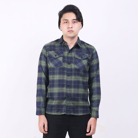 Kemeja Flannel Green Navy Box Default