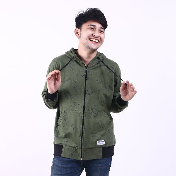 Hoodie Zipper Dino Dark Green Default