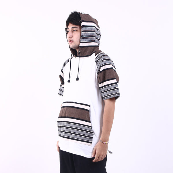 Hoodie Raglan Cotton Street Stripe In White Default