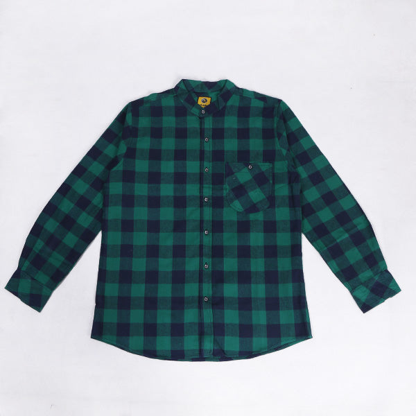 Kemeja Flannel NK Green In Navy Default