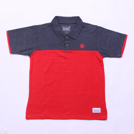 GREY IN RED POLO SHIRT
