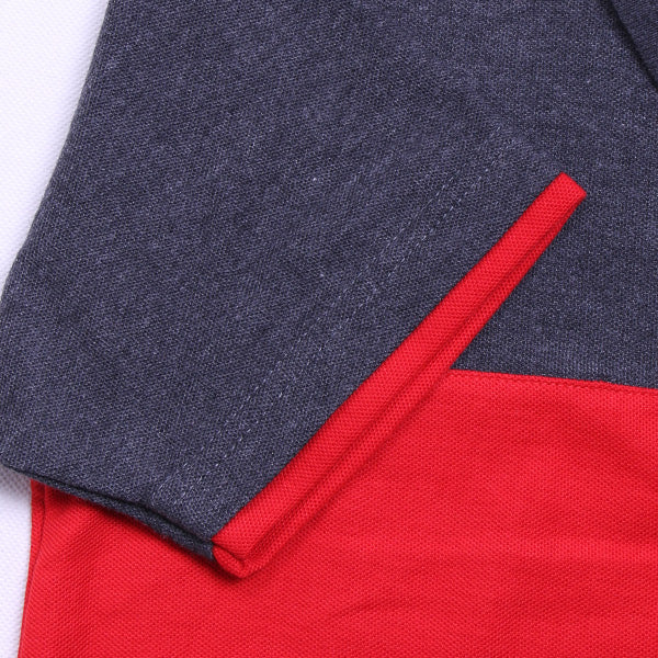POLO SHIRT GREY IN RED