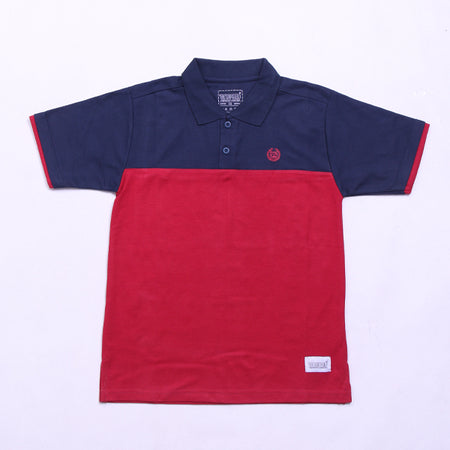 NAVY IN MAROON POLO SHIRT