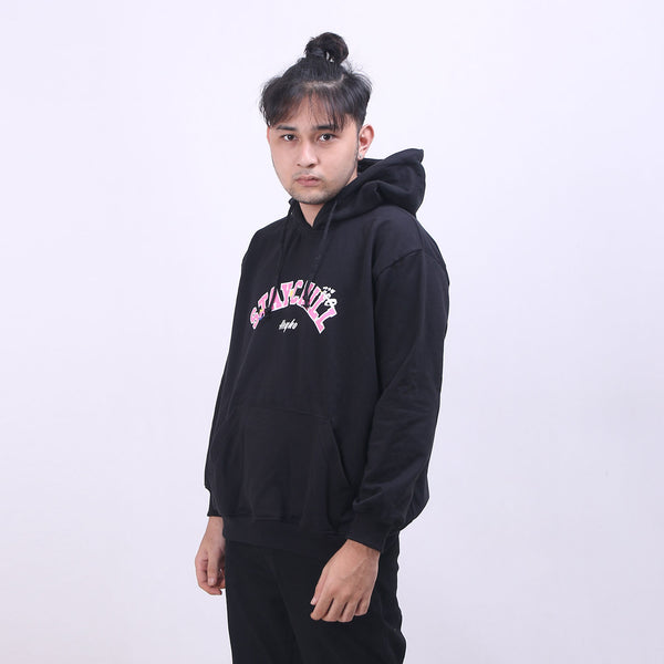 Hoodie Pullover Pink Font In Black