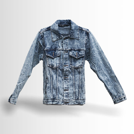 DOUBLE ONE Blue Sandwashed Denim Jacket Default