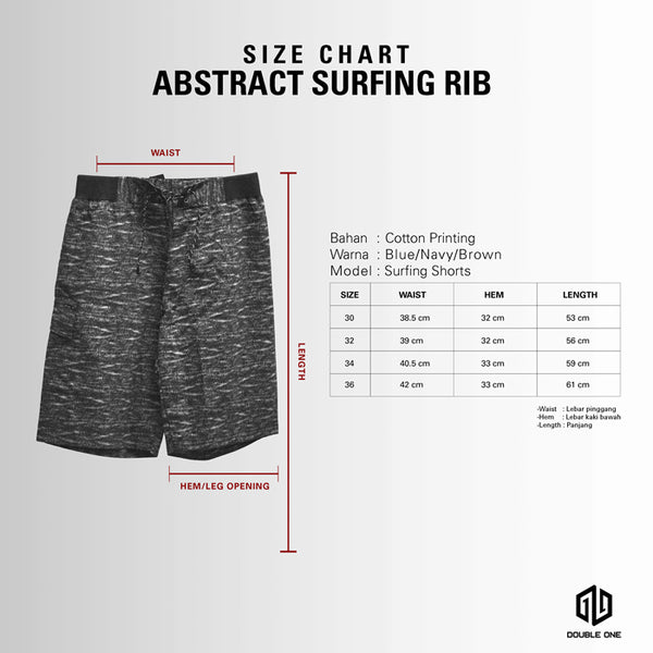 DOUBLE ONE Abstract Surfing Rib Shorts Default