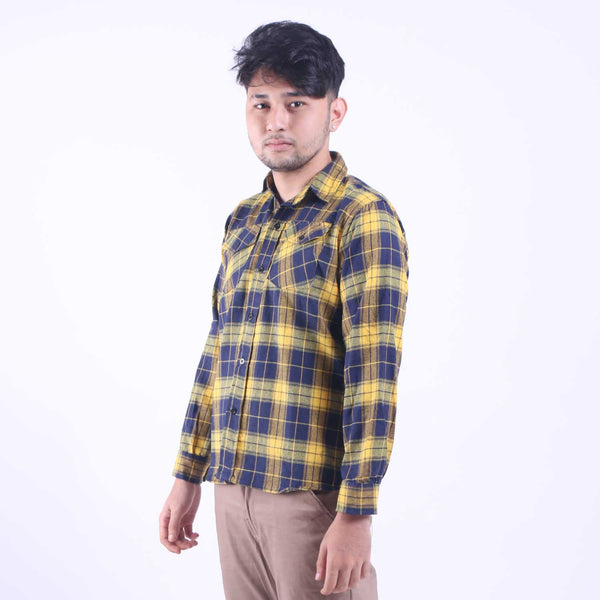 Kemeja Flannel Navy Box In Yellow