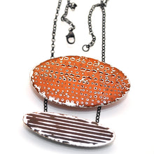 Load image into Gallery viewer, Orange and brown enamel pendant on sterling silver
