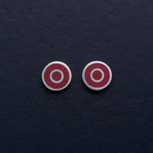Load image into Gallery viewer, Small-flat-round-ear-studs-with-red-coloured-enamel-in-the-centre