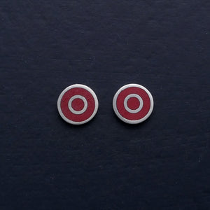 Small-flat-round-ear-studs-with-red-coloured-enamel-in-the-centre