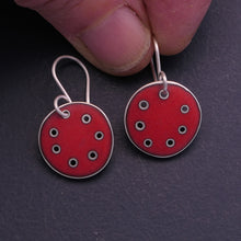Load image into Gallery viewer, Small red 'honesty' earrings