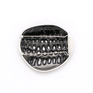 Blue Black perforated Brooch