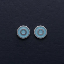 Load image into Gallery viewer, Small-flat-round-ear-studs-with-light-blue-Turquoise-coloured-enamel-in-the-centre