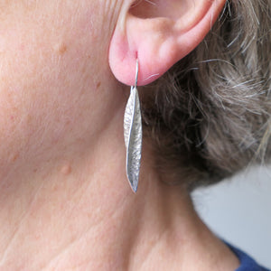 Silver textured seed-pod earrings