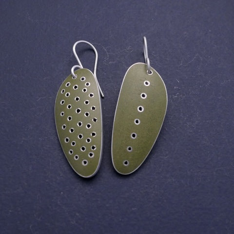Olive green ' stretched-seed' earrings, odd pair