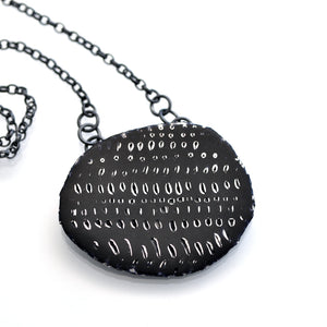 Necklace, Blue-Black & Silver with oxidised silver chain