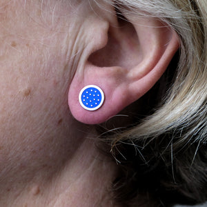 Dotty silver and enamelled earrings, mid-blue