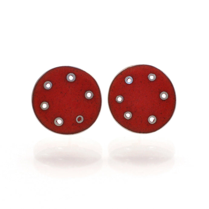 Red enamel and silver stud earring for pierced ears. Large scroll on the back for easy use and secure fastening