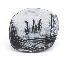 Load image into Gallery viewer, Brooch. Black and white smooth enamelled surface