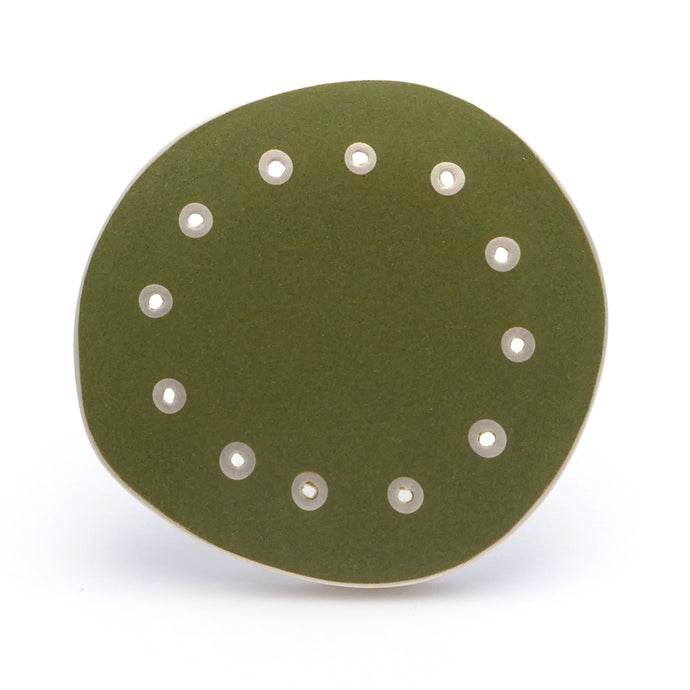 Brooch, perforated, green enamel on silver, satin finish