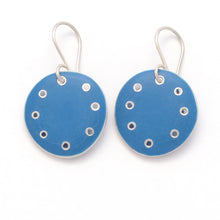 Load image into Gallery viewer, Medium round earrings, blue enamel on silver with pierced dots on perimeter