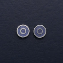Load image into Gallery viewer, Small-flat-round-ear-studs-with-coloured-enamel-in-the-centre