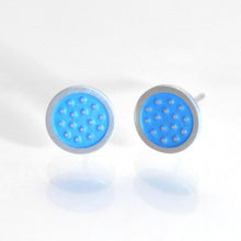 Load image into Gallery viewer, Dotty silver and enamelled ear studs, small