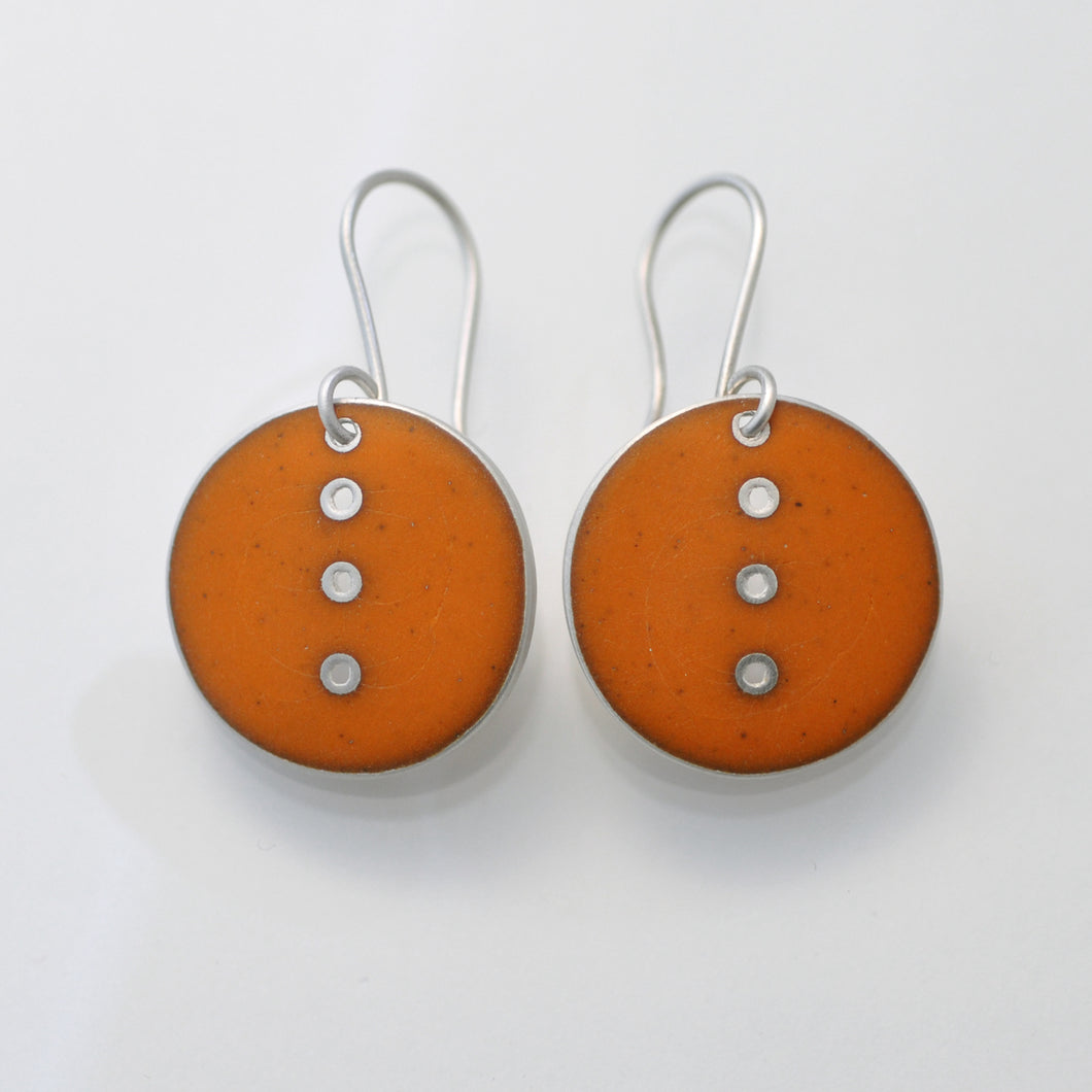 Orange Button earrings, medium