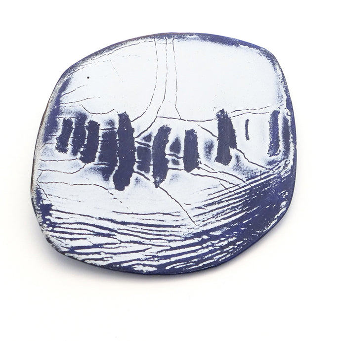 Brooch, smooth silky surface. Enamel in blue and white