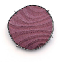 Load image into Gallery viewer, Brooch, finely textured enamelled surface in contoured lines,purple colour with