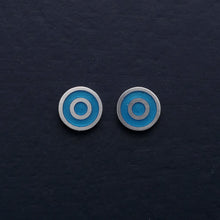 Load image into Gallery viewer, Small-flat-round-ear-studs-with-turquoise-blue-coloured-enamel-in-the-centre
