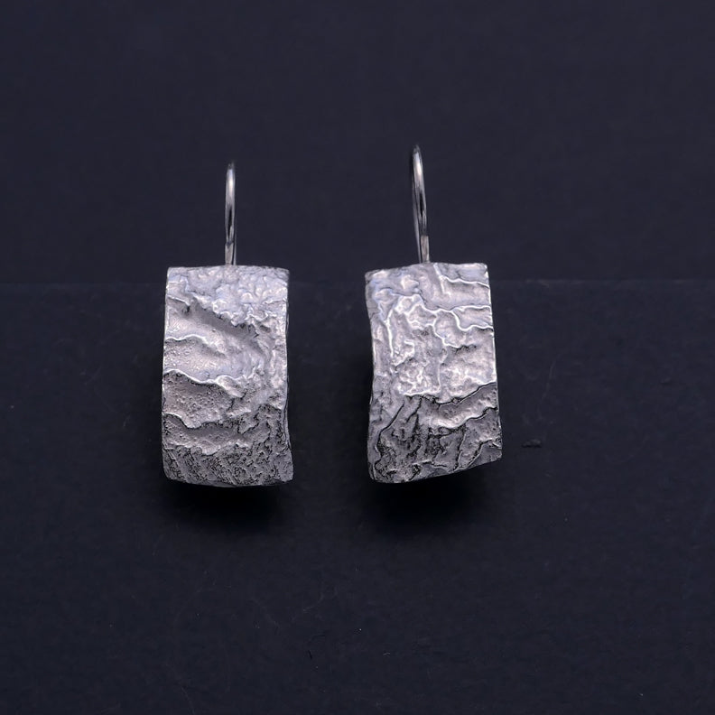 'Molten' silver earrings