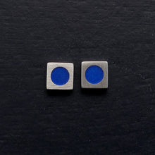 Load image into Gallery viewer, Tiny-5mm-square-sterling-silver-stud-earring-with-enamel-colour-in-centre