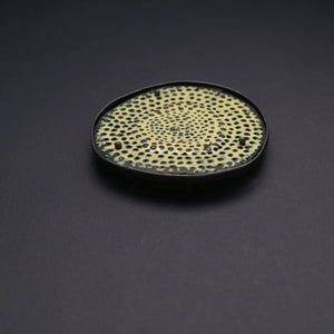 Textured Yellow 'Biscuit' Brooch