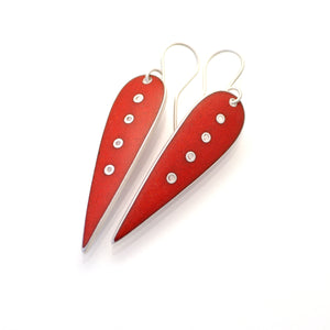 Slender red earrings, short