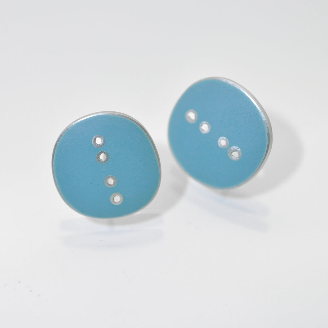 Stud earrings, 'Button' series, turquiose