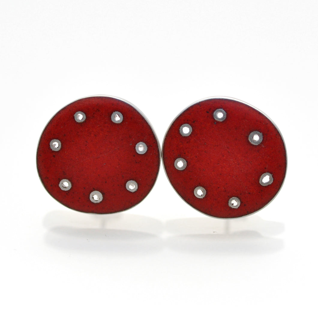 Red Stud for pierced ears, 21mm