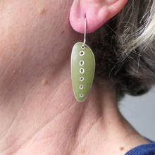 Load image into Gallery viewer, Long green 'stretched-seed' earrings