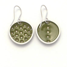 Load image into Gallery viewer, Green perforated earrings, odd-pair