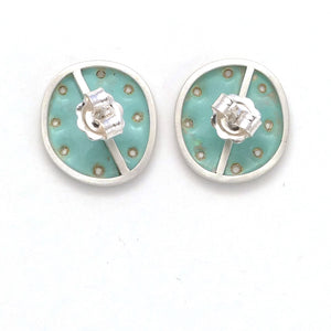 Duck-egg green stud earrings