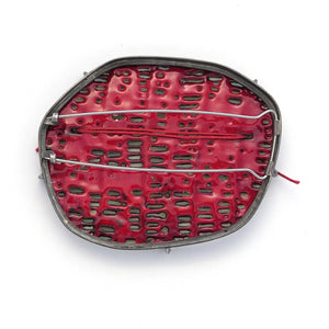 Yellow basket weave brooch with red thread