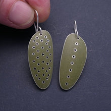 Load image into Gallery viewer, Olive green ' stretched-seed' earrings