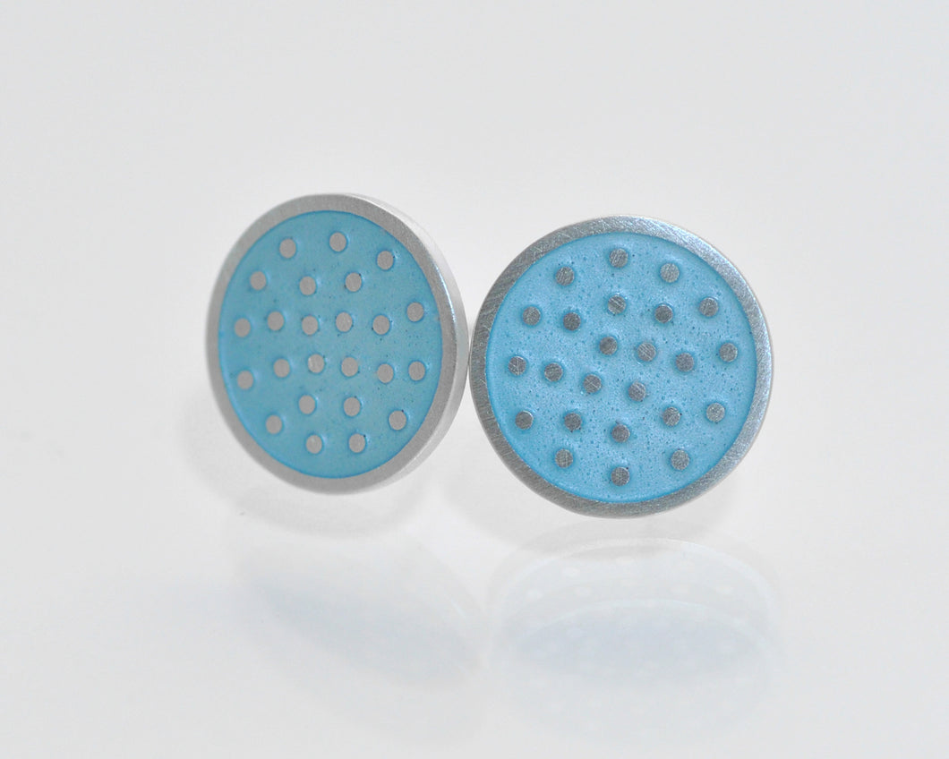 Dotty silver ear studs, large
