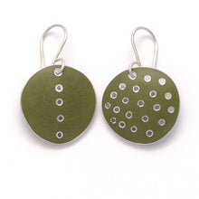 Load image into Gallery viewer, Earrings, round, green enamel on silver. Odd -pair, pierced polka-dots, and single line of dots