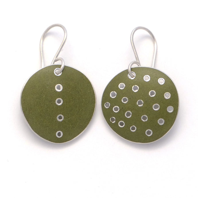 Earrings, round, green enamel on silver. Odd -pair, pierced polka-dots, and single line of dots