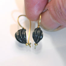 Load image into Gallery viewer, Fat seed pod earrings, oxidised silver with 18ct Gold wire