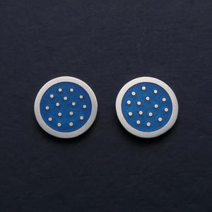 Dotty silver and enamelled ear studs, small