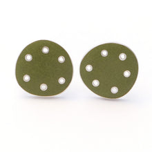 Load image into Gallery viewer, Stud earrings for pierced ears. Green enamel on silver with pierced dots on perimeter