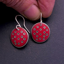 Load image into Gallery viewer, Small red 'Polka-dot' earrings