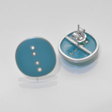 Load image into Gallery viewer, Stud earrings, 'Button' series, turquiose